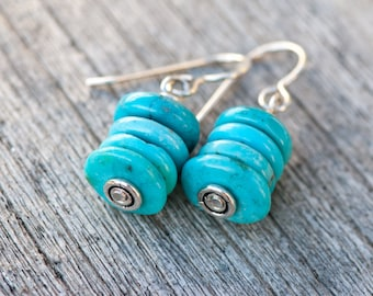 Natural Turquoise Earrings, Stacked Turquoise Discs, Real Turquoise Cairn Stacked Earrings, Turquoise & Silver Earrings, December Birthstone