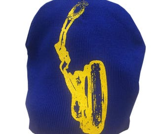 Blue and Yellow Headphone Beanie