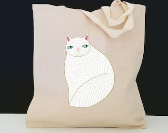 Personalized Cat Tote Bag (FREE SHIPPING), 100% Cotton Canvas Cat Tote Bag, Cat Tote Bag, Persian Cat, Customized Cat Gift, Persian Cat Tote