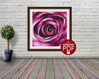 1. Purple Rose Counted Cross Stitch Pattern / Large Cross Stitch Chart / Poster Cross Stitch Flower / Floral Cross Stitch Design / PDF File