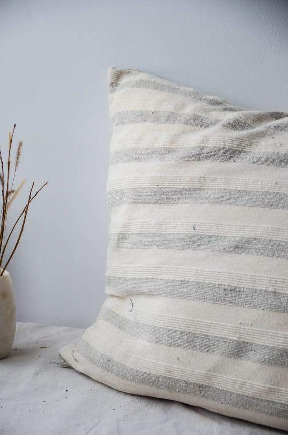"Decorative beige and white with stripes cushion cover 18 x 18"" in linen."