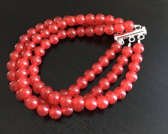 """The """"Satin Rubies"""" Bracelet is made with 3 strands of Genuine Brazilian Rubies"""