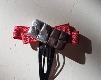Hairclip chocolate and Red Ribbon