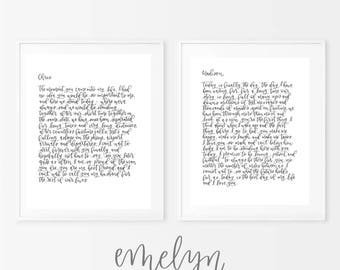 Custom Calligraphy Wedding Vows - Printable Wedding Vows - Digital Download - First Anniversary - Paper Anniversary Gift - Wedding Gift