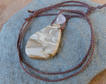 Ribbon stone, Quartz crystal necklace - natural stone jewelry - earthy tribal jewellery handmade in Australia adjustable length -
