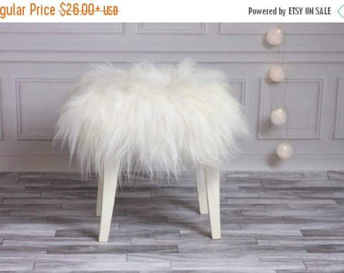 ON SALE Stool Cover | Sheepskin Stool Cover | Chairl Cover | Furry Stool | Scandinavian Decor | Seat Pad | Chair Pad