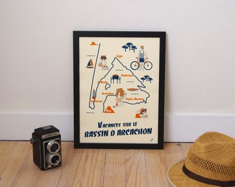 Shows retro Arcachon, sea, France, gift, fathers day, A3, Illustration poster vintage style, workshop VUDO vudo, blue, Burgundy