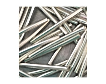 Silver Curved 25mm Bugle Beads 5gm