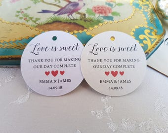 Love is Sweet Tags - Sweet Favour Tags - Wedding Favour Tags - Thank you Tags - Sweetie Tags - Love is Sweet Hang Tags - Round Favour Tags