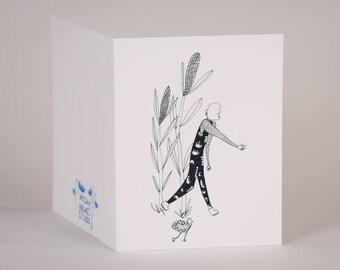 Chicken Walk-Blank Greeting Card