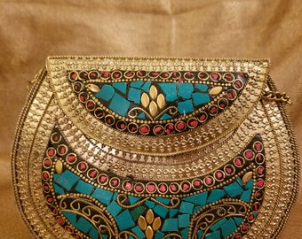 Mosaic collection - vintage clutch - Turq