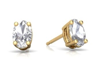 14Kt Yellow Gold White Topaz Oval Stud Earrings