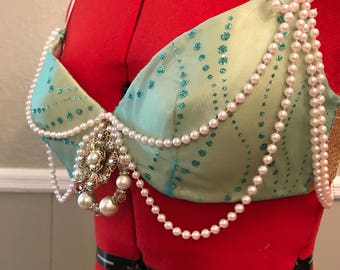 36B Mermaid Inspired Belly Dance/Costume Bra and Matching Hip Scarf