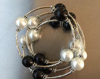 Black & White Pearl Wrap Bracelet