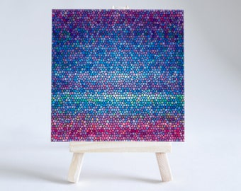 Stained Glass Effect Ceramic Coaster | Decorative Tile | Blue and Pink