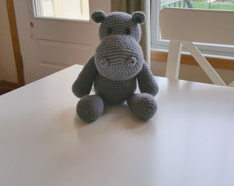 Gender Neutral Gift, Baby Girl Gift, Baby Boy Gift, Stuffed Hippo, Stuffed Hippopotamus, Hippo Stuffed Animal, Crochet Hippo, Nursery Decor