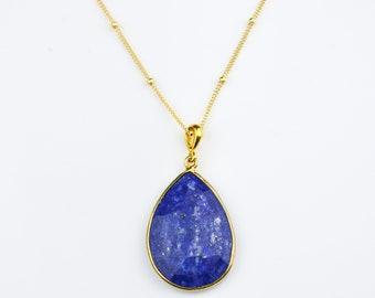 Lapis Lazuli Necklace, September Birthstone jewelry, Gold necklace, teardrop stone necklace, Lapis jewelry bridesmaid necklace, FINAL SALE