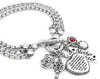 Customized Bracelet, Personalized Charm Bracelet with Sterling Silver Crown setting, Crystals, and Laser Engraved