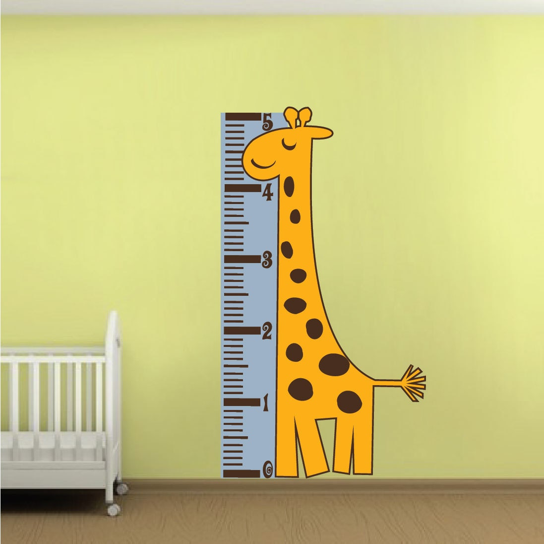 Measure chart wall decal giraffe height chart murals growth zoom geenschuldenfo Image collections
