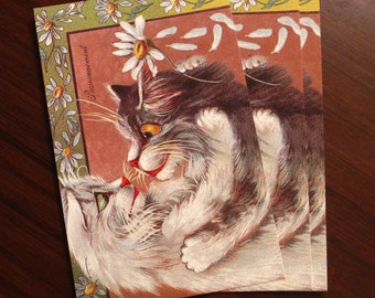"""Vintage Passionnement Cat Postcard [dead stock, 4x6""""] whimsical kitsch retro drawing illustration animal flower collectible animal novelty"""