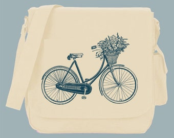 Bicycle with Flower Basket in any color print Canvas Messenger Bag, 15x11x4