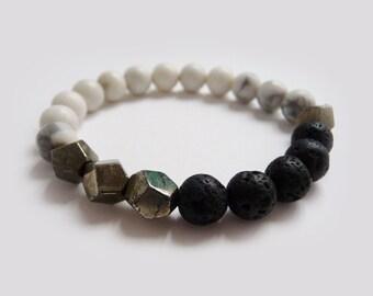 Gemstone Mala Bracelet// His &Her MEDITATION Mala Bracelet // Howlite, Lava Stone, Pyrite