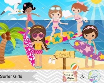 Instant Download Surfer Girls Clip Art, Digital Surfing Girls Clipart, Summer Beach Party Clip Art, Surf Digital Clipart, Surfing Party 0164