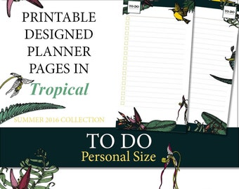 Tropical Printable Designer TO DO (Personal Size) Planner Inserts
