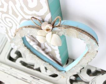 Seaglass & Shell Heart Decoration for shelf , Coastal Home Decor , Beach Decoration, photo prop