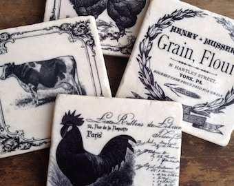 Farm Country -  farmhouse coaster set - immediate shipping