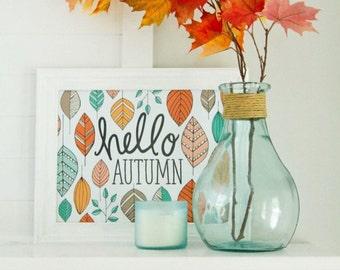 Fall Art, Fall decor, Hello Autumn, Happy Fall, Seasonal, Give Thanks, Thanksgiving, Autumn Leaves, Fall Decoration, acorns, Art Print