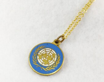 United Nations Pendant with Necklace