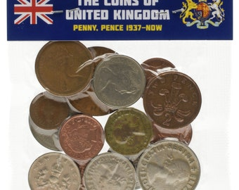 Lot of 15 UK England Great Britain Coins Pound Penny Shilling Pence 1937-Present United Kingdom Currency