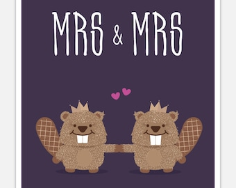Lesbian Wedding Card - Funny Card - Mrs and Mrs