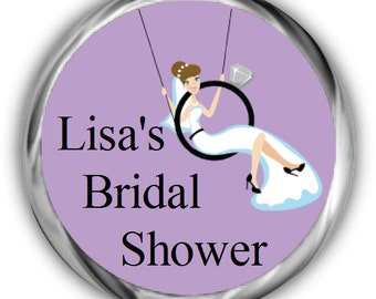 Bride Swinging on Ring Bridal Shower Hershey Kisses Stickers • Personalized Bridal Shower Sticker