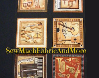 """Perfect Pitch Musical Instruments Fabric Panel~23""""x44""""~Guitars~Pianos~Harps~Drums~Violins~Saxophones~Brass~Music~Orchestra~RJR~cotton"""