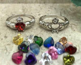 GARNET CZ Claddagh Ring 925 Sterling Silver Claddagh Ring Irish Claddagh Ring Womens Claddagh Ring Engagement Ring,January Birthstone