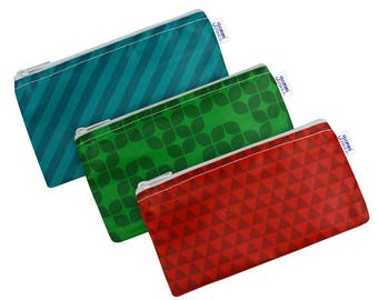 Jewel Set of 3 Cloth Snack Bags with Zippers