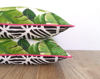 Tropical palm leaf outdoor pillow covers set of two Beverly Hills Decor, geometric pillow cases banana leaf print green, black and pink