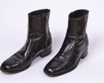 8.5 MENS PATENT Leather ANKLE Boots// Beatle Boots Cuban Heel//Military European Classic Minimalist