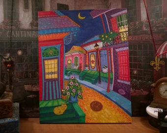 New Orleans Art / NOLA Night / from my Original Painting / Bright Colorful Art / Cat on a Porch / Whimsical / City Scene / City Scape