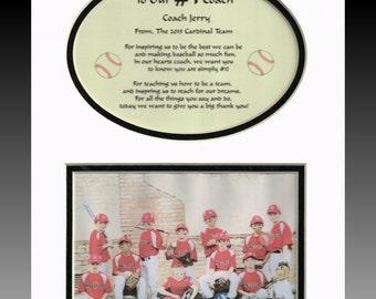 Baseball Softball T-Ball Personalized Coach Thank you Gift photo team player