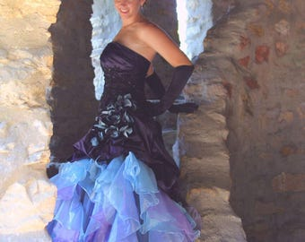 Purple Wedding Dress with Blue and Purple Organza Accents
