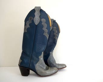 Vintage CUSTOM JUSTIN Boots • Made in USA • Light Blue Teal Western Tall Cowboy Cowgirl Alligator Leather • 1970s 1980s • Size 5 B 6 Women