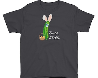 Easter Pickle Funny Easter Bunny Mash-up Youth Short Sleeve T-Shirt