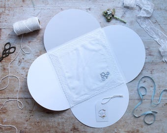 Bride Gift, Personalised Monogram Handkerchief, Personalised Ladies Handkerchief, Irish Linen & Lace Handkerchief, Something Blue Gift