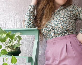 Vintage Lavender High Waisted Pleated Trousers