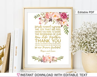 Floral Wedding Thank You Sign, Wedding Table Thank You Template, Printable, A010, INSTANT DOWNLOAD, Editable PDF