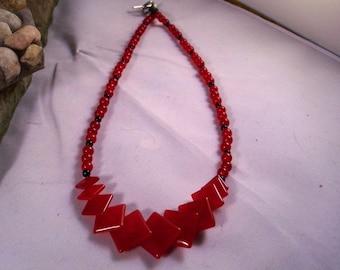 Red Diamond -shaped Jade Necklace