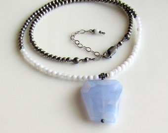 Blue Pendant Choker, Blue Lace Agate Stone Necklace, Blue and Gray Necklace, Sterling Beaded Chain Series WillOaks Studio Signature Design
